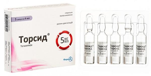 Торсид раствор для инъекций по 4 мл в ампуле, 5 мг/мл, 5 шт.