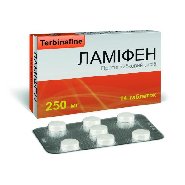 Ламифен таблетки по 250 мг, 14 шт.