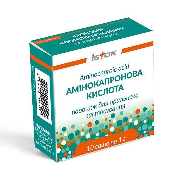 Аминокапроновая кислота порошок для орального применения в саше по 1 г, 10 шт.