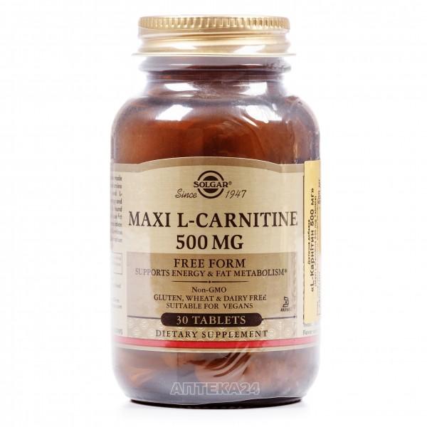 Солгар L-карнитин 500 мг таблетки, 30 шт.