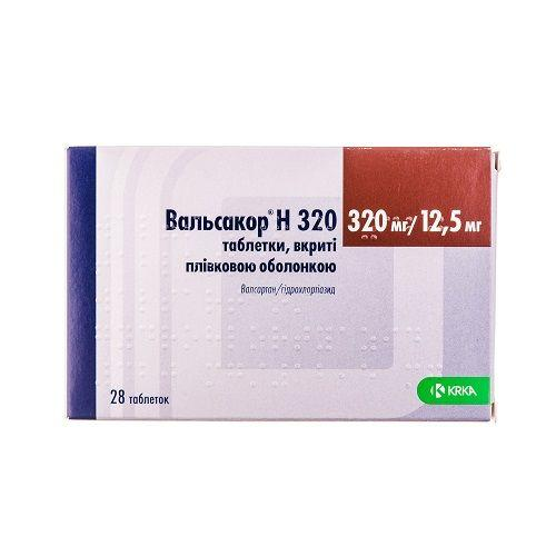 Вальсакор Н 320 таблетки по 320 мг/12,5 мг, 28 шт.
