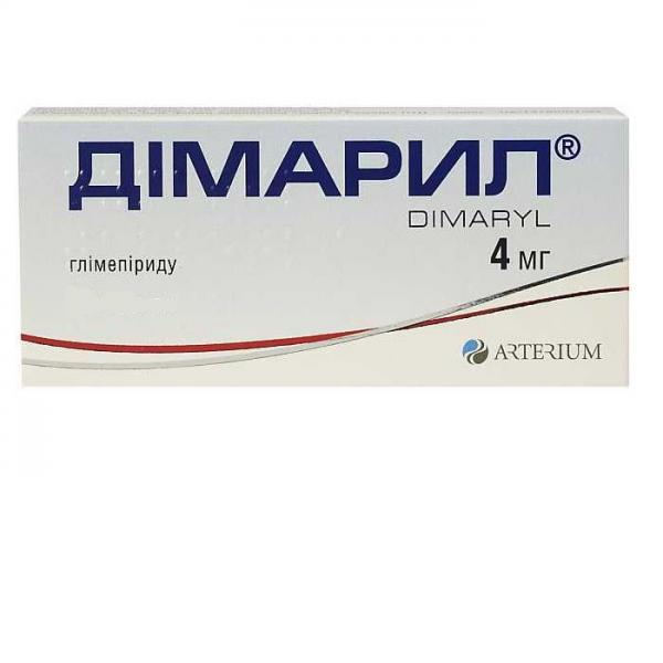 Димарил таблетки по 4 мг, 50 шт.