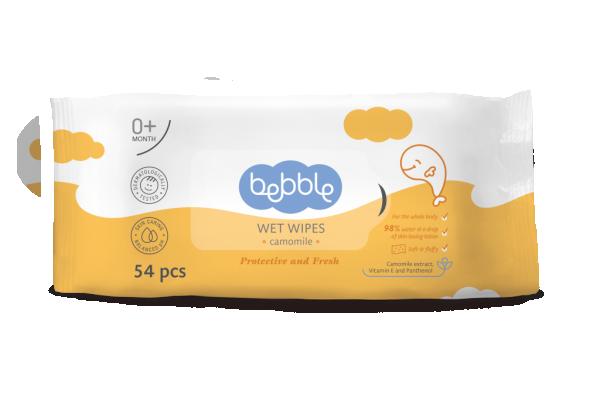 Bebble влажные салфетки детские с экстрактом ромашки, 54 шт.