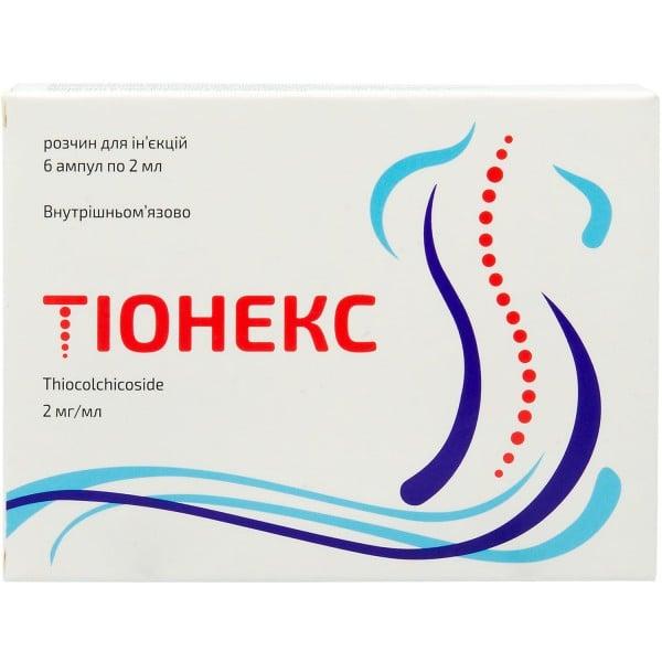 Тионекс раствор для инъекций по 2 мг/мл, в ампулах по 2 мл, 6 шт.