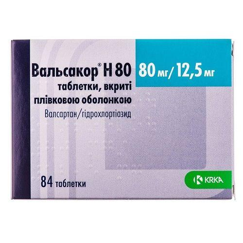 Вальсакор Н 80 таблетки по 80 мг/12,5 мг, 84 шт.