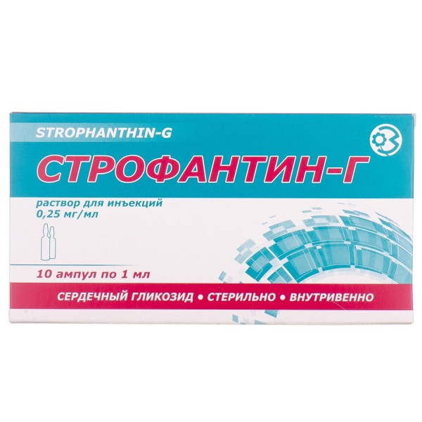 Строфантин-Г раствор для инъекций по 1 мл в ампулах, 0,25 мг/мл, 10 шт.