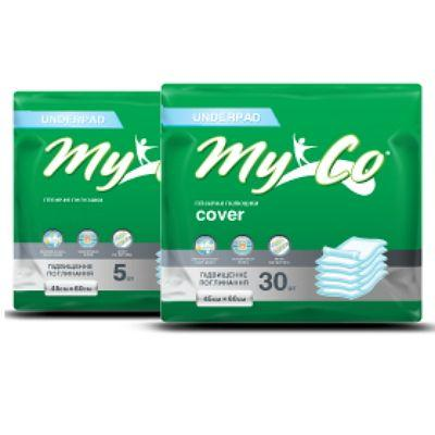 Пеленки гигиенические MyCo Cover 60х90см N30 + Пеленки гигиенические MyCo Eco Baby 60х90см N5 4+2 Акция