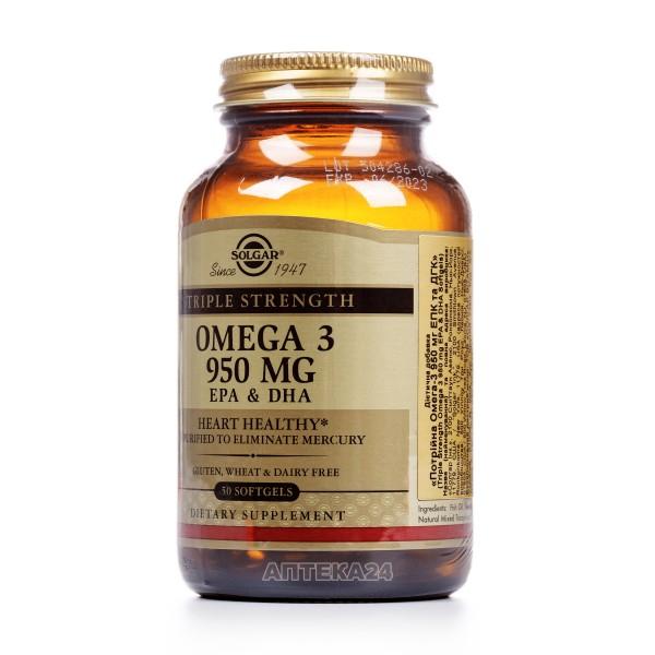 Солгар Тройная Омега-3 капсулы по 950 мг, 50 шт.