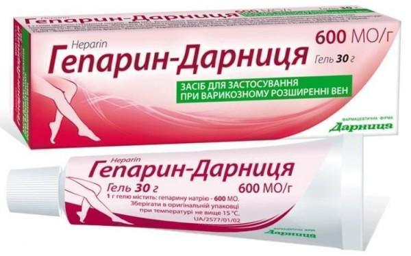 Гепарин-Дарница гель от варикоза, 600 МЕ / г, 30 г