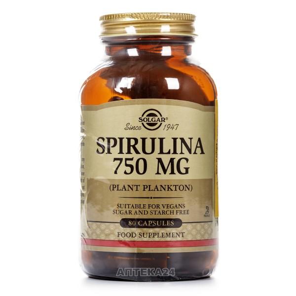 Солгар Спирулина капсулы по 750 мг, 80 шт.