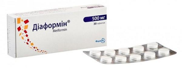 Диаформин таблетки по 500 мг, 30 шт.