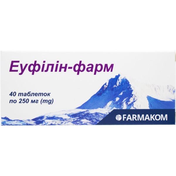 Эуфиллин-фарм таблетки по 250 мг, 40 шт.