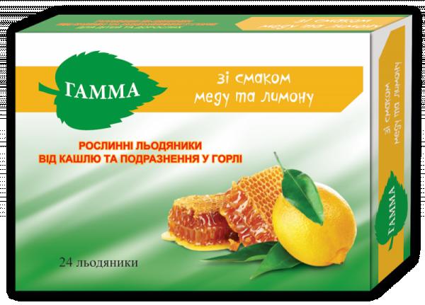 Гамма леденцы от кашля и раздражений в горле без сахара со вкусом меда и лимона, 24 шт.