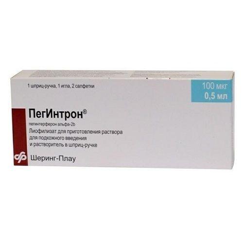 Пегинтрон 100 мкг/0.5 мл №1 + растворитель 0.7 мл №1  порошок лиофилизованный для раствора для инъекций