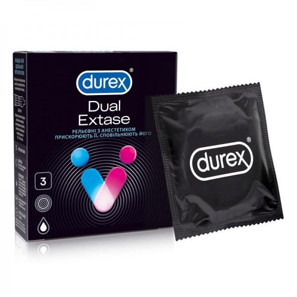 Презервативы Durex (Дюрекс) Dual Extase рельефные с анестетиком, 3 шт.