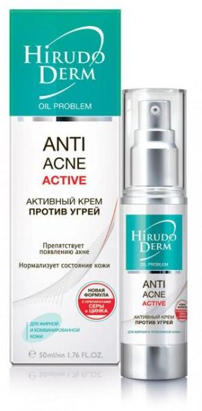 Hirudo Derm ANTI-ACNE АСТІVE активный крем против угрей из серии Oil Problem, 50 мл