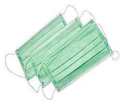 Маска медицинская трехслойная N50 с ушными зацепами зеленая