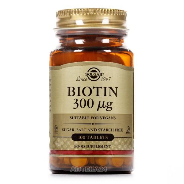 Солгар Биотин таблетки по 300 мкг, 100 шт.