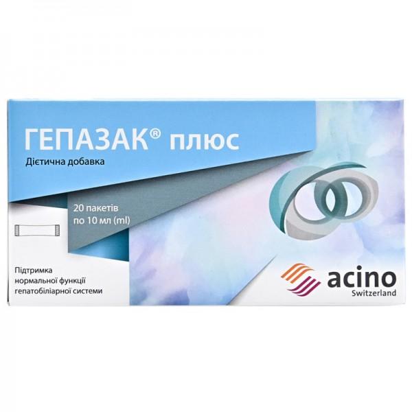 Гепазак Плюс диетическая добавка для поддержания функций пищеварительной системы в пакетах-саше по 10 мл, 20 шт.