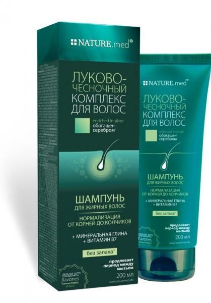 Nature.med (Натур.мед) Луково-чесночный комплекс шампунь для жирных волос, 200 мл