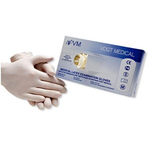 Перчатки смотровые латексные припудренные текстурированные нестерильные размер S Vogt Medical 1314350