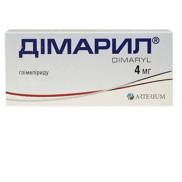 Димарил таблетки по 4 мг, 60 шт.