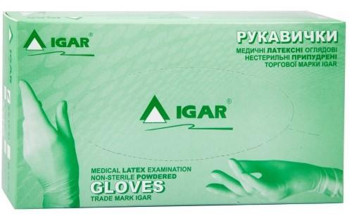 Перчатки IGAR смотровые латексные нестерильные припудренные, размер S (6-7), 1 шт.